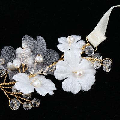 Elegant Handmade Bridal Ribbon HairBand Flowers Pearls Wedding Accessories