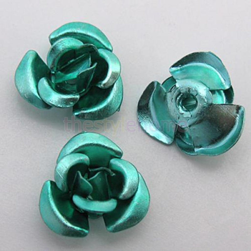 50PCS 8mm Light Green Anodized Aluminum Rose Loose Bead DIY Craft Supplies Decor