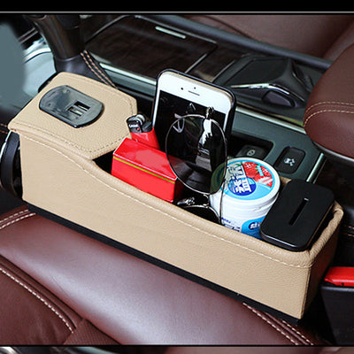 Car Seat Storage Container Storage Box Console Side Pocket with 2 USB Khaki
