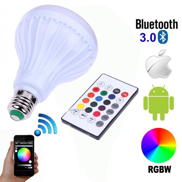 Wireless Bluetooth Speaker Bulb E27 LED Light Music Play Lamp 100-240V W/ Remote