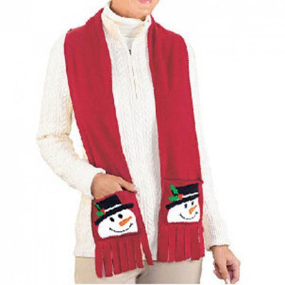 Red Christmas Scarf Gift Lint Snowman Holiday Wrap Winter Shawl 160x15cm