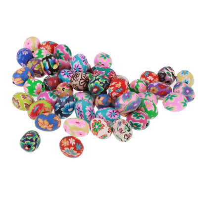 6x 50 Mixed Floral Polymer Clay Barrel Loose Spacer Beads Charms for DIY Craft