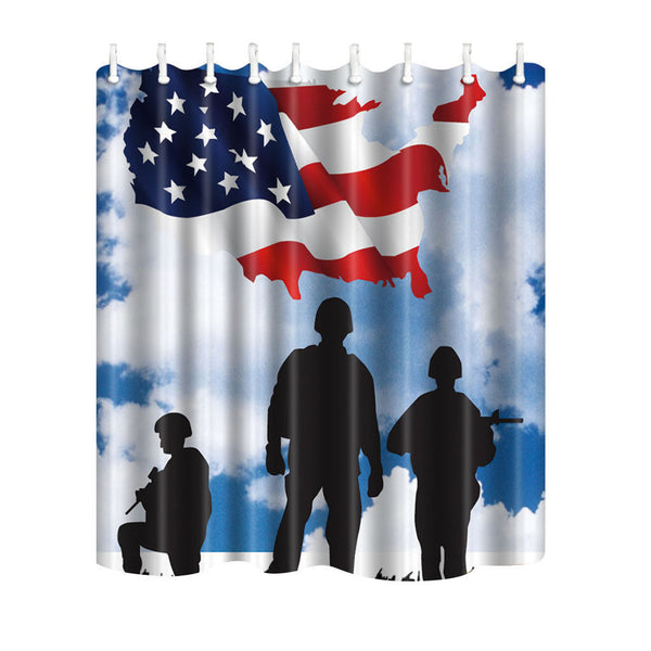 Waterproof Bathroom Curtain American USA Patriotic Bath Curtain