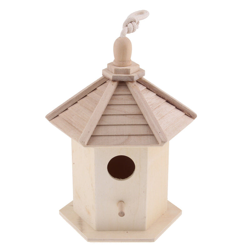 Bird Hotel House Hanging Wooden Nesting Box Station Bird Small Home Feeder