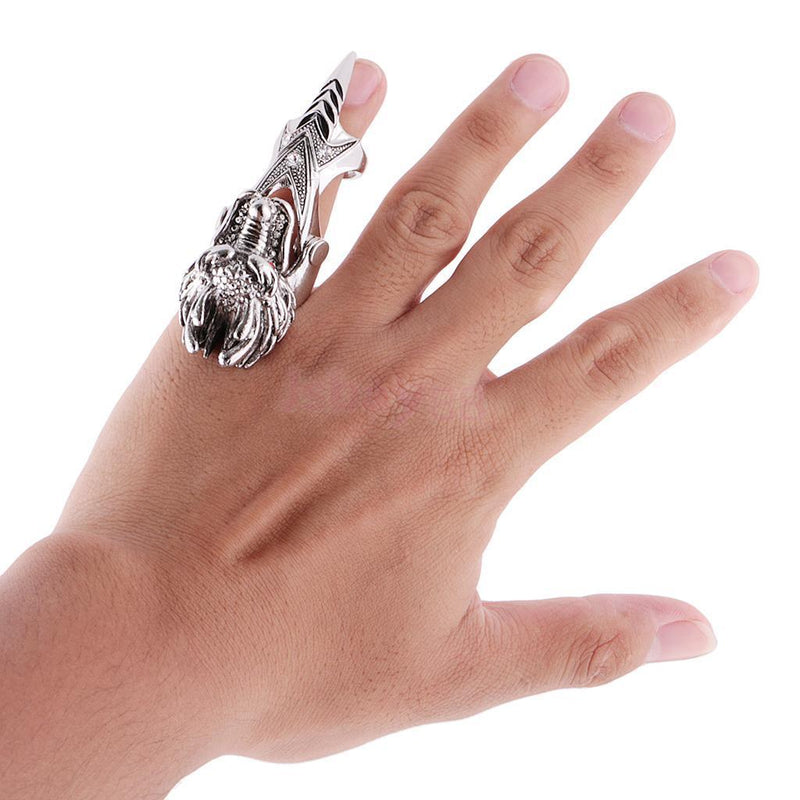 Fashion Dragon Head Rings for Men Punk Rock Style Party Men Red Stone Rings