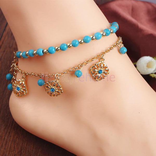 Bohemia Two Piece Flower Charm Tassel Chain Turquoise Beads Anklet Bracelet