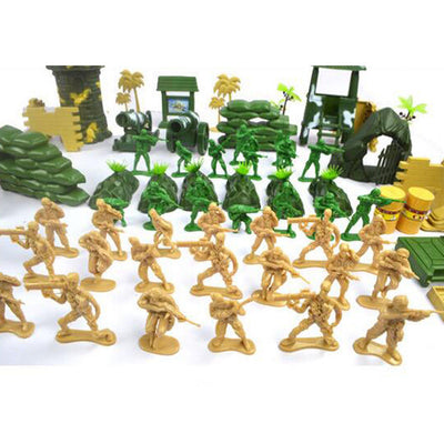 Army Men Assorted Action Figures Play Set with Assorted Accessories - 100pcs