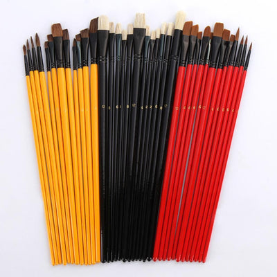 36 Artist Paint Brushes Nylon Hair Watercolor Acrylic Oil Painting Supplies