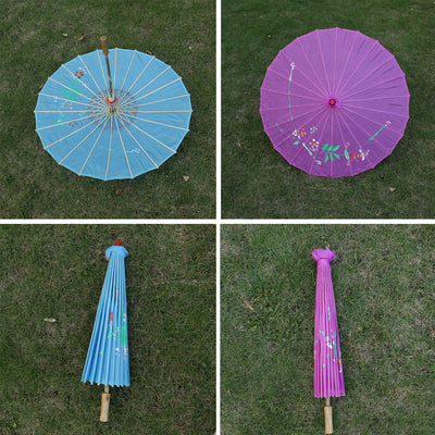 Set of 2pcs Handcraft Fabric Floral Umbrella Parasol Wedding Photo Prop