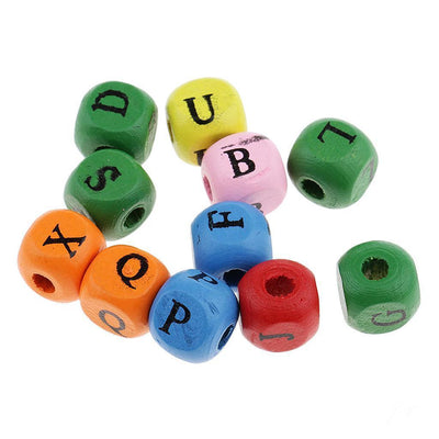100x Mixed Color Wooden Alphabet Letters Cube Beads for Kids DIY Crafts 10mm