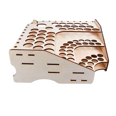 Wooden Paint Rack Modular Stand Organizer Storage (75 Holes, 3 Tiers ) #125