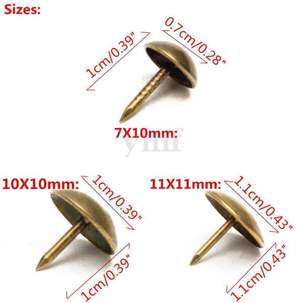100Pcs Drawing Pins Brass Upholstery Thumb Tacks Push Board Cork 11 x 11mm