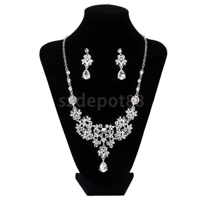 Bridal Wedding Formal Party Jewelry Crystal Rhinestone Necklace Earrings Set