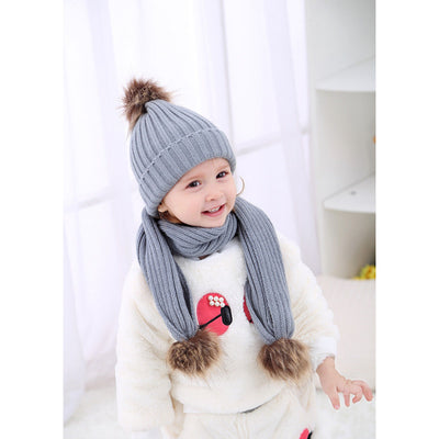 Infant Baby Winter Knit Cap Scarf Set with Pom Pom Cute Beanie Hat Outdoor
