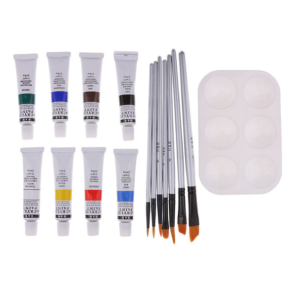 16x Art Painting Drawing Sets with Brush Acrylic Pigment Palette for Student