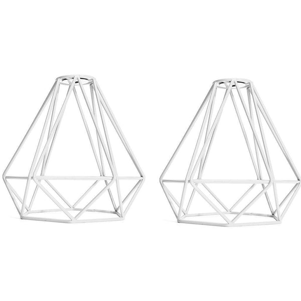 2Pcs Retro Wire Diamond Pendant Ceiling Living Light Cage Lamp Shade White