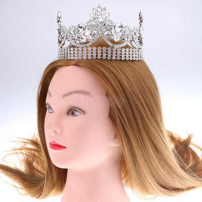 Gorgeous Wedding Lady Baroque Queen Crystal Crown Tiara Headwear