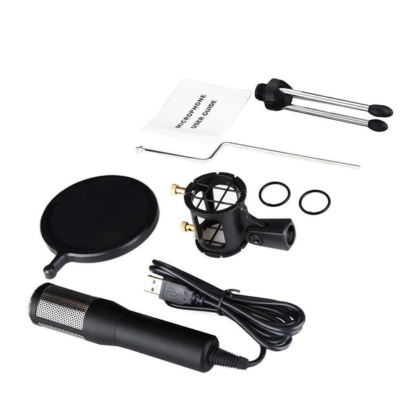 USB Condenser Microphone Mic with Pop Filter&Stand for PC Laptop Recording