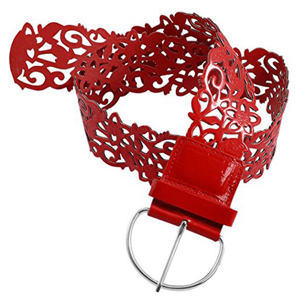 Woman Single Pin Buckle Red Color Hollow Out Total length 107CM, width: 7CM R8D3