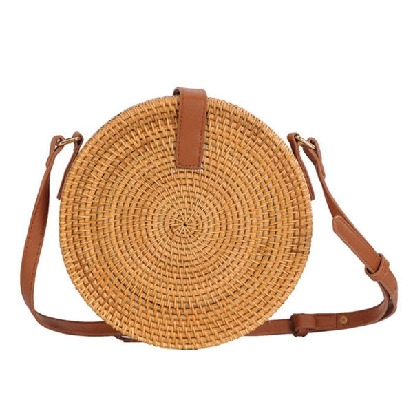 Women Handwoven Bag Round Rattan Straw Bohemia Style Beach Bags Button Lock