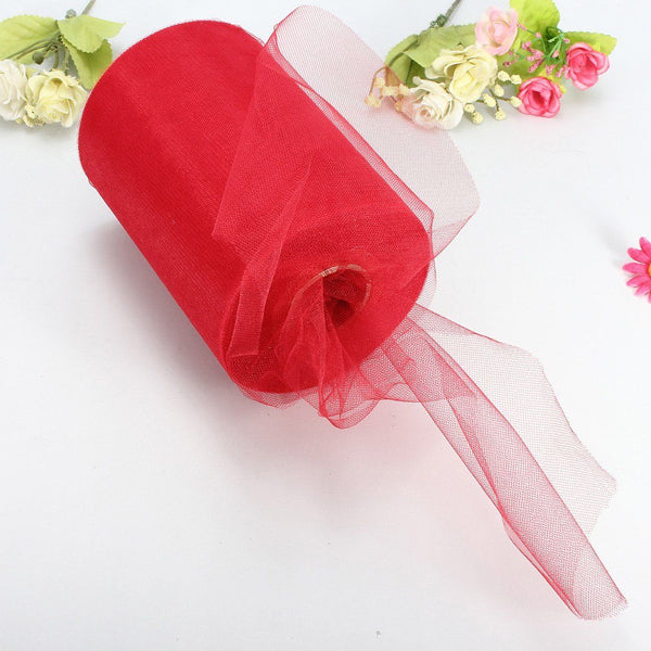 "Soft 6""x100yd Tulle Roll Spool Wedding Decor 6""x300' Red A1E7"