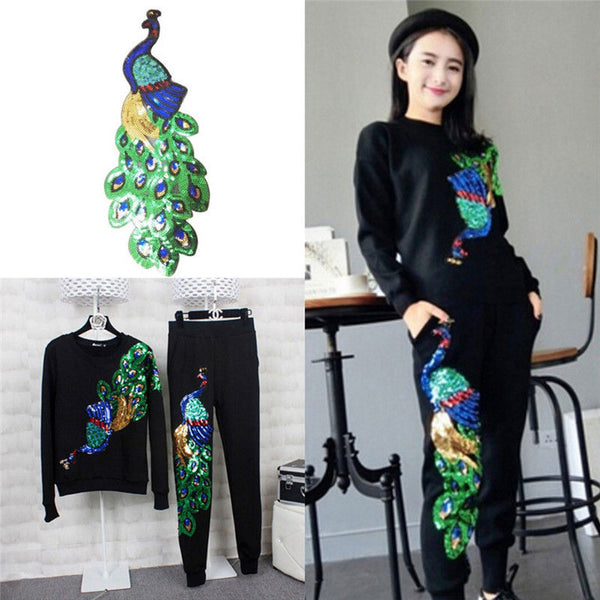Women Sequin Peacock Embroidery Applique Patch Sew On Clothes Accessory Diy F9P