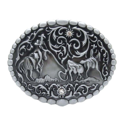 Western Trophy Rodeo Team Roping A Bull Pattern Belt Buckle Cowboy Mens Gift