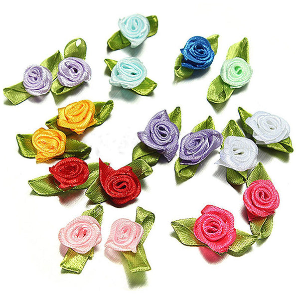 200pcs Mix Exquisite Satin Rose Flower Ribbon Sewing Wedding Appliques V4H9