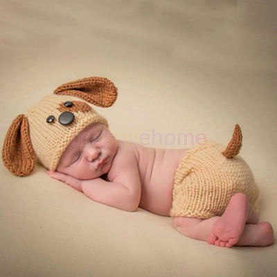 MagiDeal Baby Knitted Puppy Hat Pant Set Handmade Crochet Photo Prop Costume