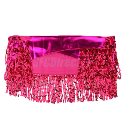 Women's Sequins Tassel Bohemian Hip Scarf Wrap Belt for Belly Dance Rose Red