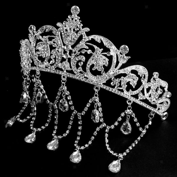 Sliver Girl Tassel Crystal Princess Bridal Tiaras Alloy Hairpin Hair Jewelry