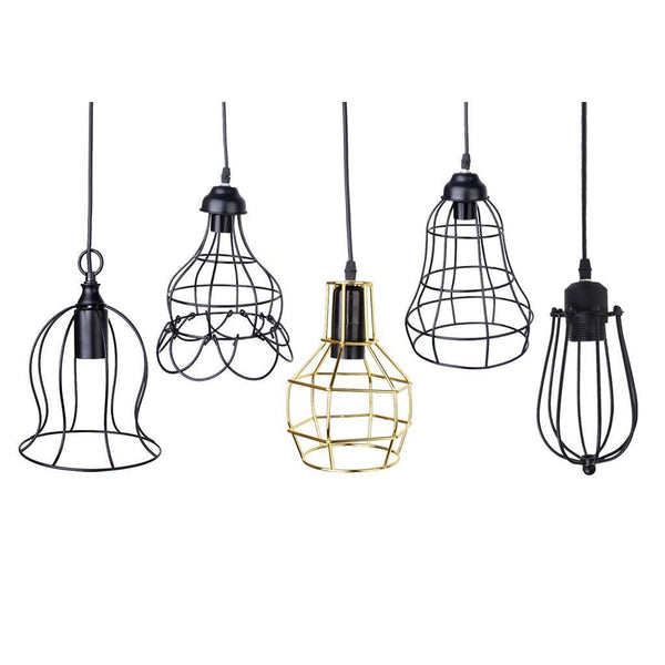 Trumpet Pendant Light Chandelier Wire Cage Ceiling Hanging Lampshade