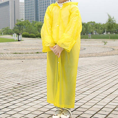 4 Age 7-12 UnisexKid Hooded Long Rainwear Nondisposable Waterproof Raincoat