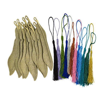 10pcs Bronze Metal Feather Bookmarks Book Marks with 12pcs Silky Tassel Gift
