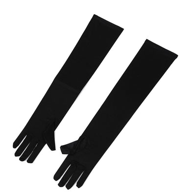 Pair of Sexy Long Gloves Black 50cm EMO PUNK party C3B1