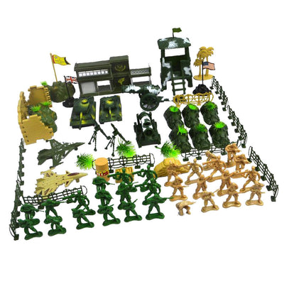 Army Men Assorted Action Figures Play Set with Assorted Accessories - 90pcs