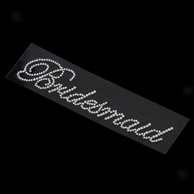 4x Rhinestone Bridesmaid+1x Bride to Be Wedding Stick On Transfer Applique