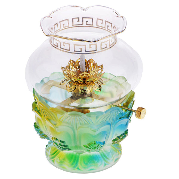 Buddhist Supplies Glass Candle Holder Buddhist Temple Decoration Oil Lamp #1