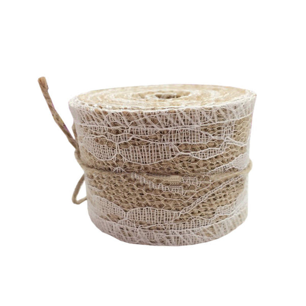 2m x 5cm Wedding Home Craft White Lace Decorated Hessian Burlap Ribbon CS