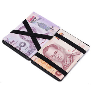 Men's PU Leather Magic Wallet Money Clip Credit Card Holder Case Purse Black