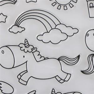 Cartoon Unicorn Clouds Transparent Clear Stamp For DIY Scrapbooking cards Decor#