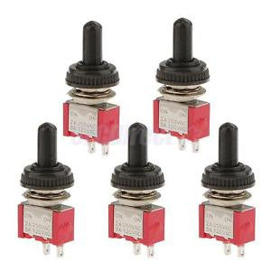 Alcoa Prime 5 x On/Off Mini Small Toggle Switch + Waterproof Cover 2P Red