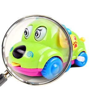 Cute Wind Up Clockwork Running Animal Cartoon Dog Car Baby Kids Playing Toy Gift