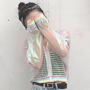 Women Iridescent Transparent Jacket Holographic Coat Laser Rainbow Bomber Coats