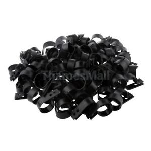 200 PCS R Type Coaxial Cat5 Cat6 Cable Clamp Electrical Wire Clip 23mm Black