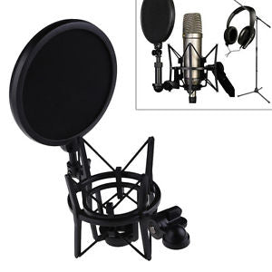 Condenser Microphone Mic Professional Shock Mount with Pop Shield Filter Screen