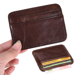 Wallet slim money clip credit card holder ID business mens genuine leather brown