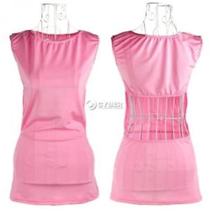 "Alcoa Prime Women""s Sexy Backless Pink Round Collar Sleeveless Mini Dress + DZ88"