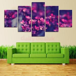 Alcoa Prime Modern Living Room Decorative Wall Painting Set Purple Floral Print Pictures