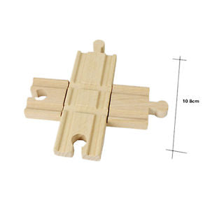 1 Pcs Wooden Cross Bifurcated Track Railway Toys Compatible All Major Brand To